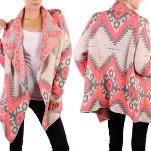 Kate Collection Emily Aztec Tribal Pink Cardigan